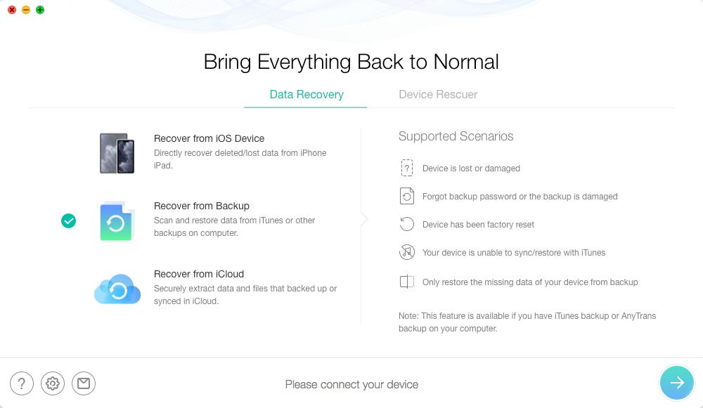 Как восстановить потерянные контакты из iTunes резервного копирования на iPhone - Шаг 2