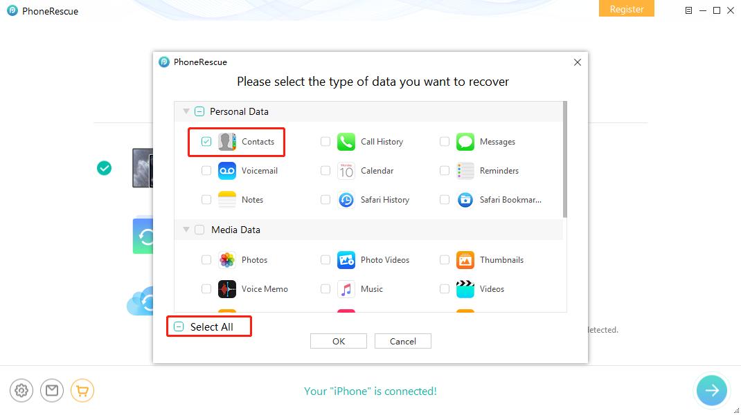 Как восстановить удаленные контакты на iPhone без резервного копирования - Шаг 2