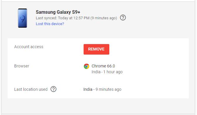 удалить устройство из учетной записи Google
