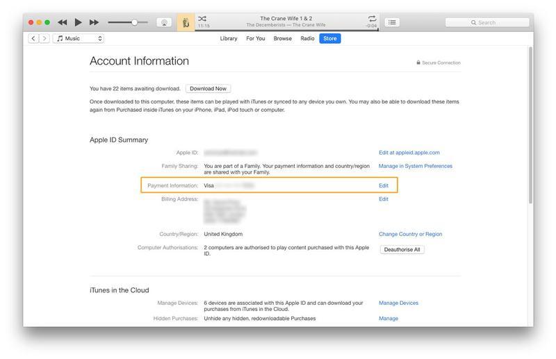 Как изменить информацию об оплате Apple ID на Mac