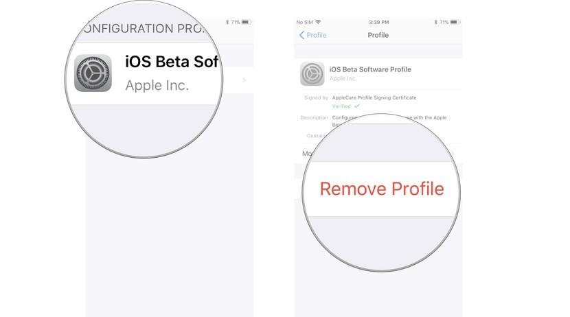 Нажмите бета-профиль iOS 13, затем нажмите «Удалить профиль».